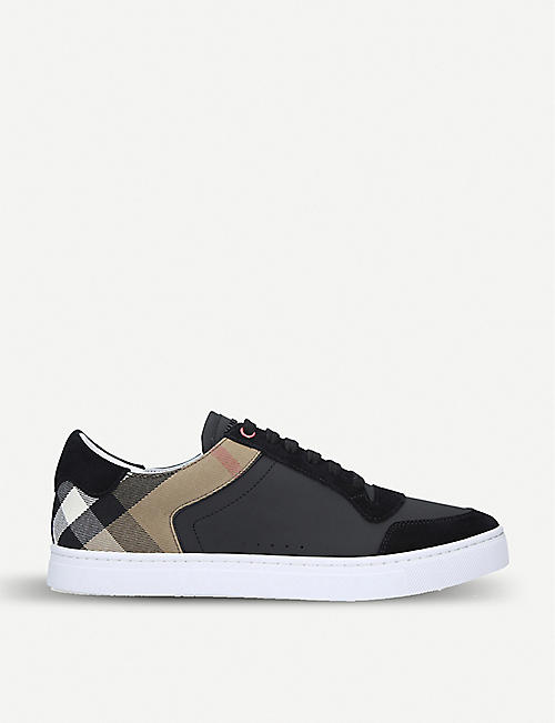 BURBERRY: Reeth leather and suede low-top trainers
