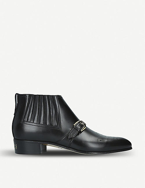 GUCCI: Worsh buckle-detail leather boots