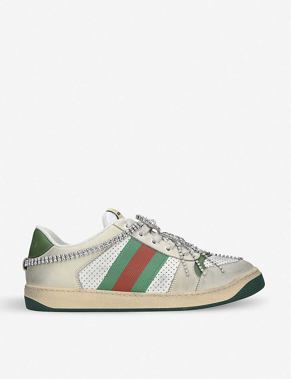 Gucci Shoes Virtus chain-embellished distressed leather and textile trainers