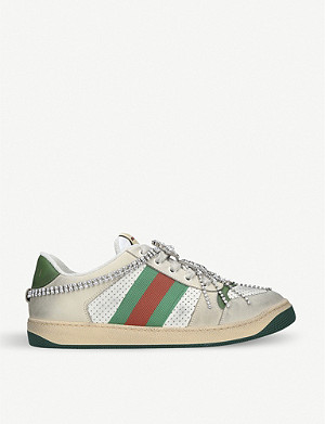GUCCI Virtus chain-embellished distressed leather and textile trainers