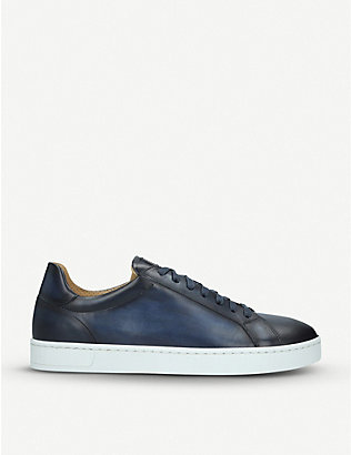 MAGNANNI: Mikel burnished leather trainers