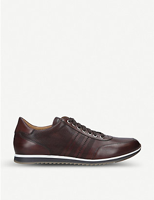 MAGNANNI: Perforated striped leather trainers