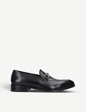 SALVATORE FERRAGAMO Tranto Gancho leather buckle loafers
