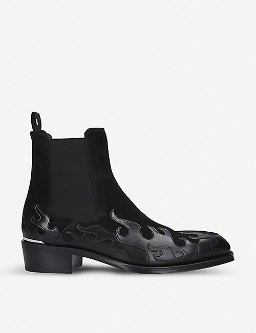 ALEXANDER MCQUEEN Flame suede and leather Chelsea boots
