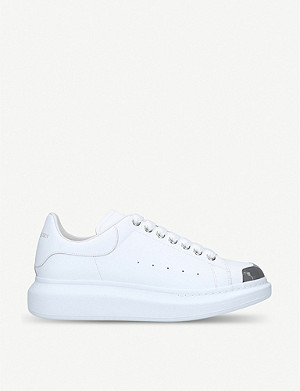 ALEXANDER MCQUEEN Show contrast toe-cap leather trainers