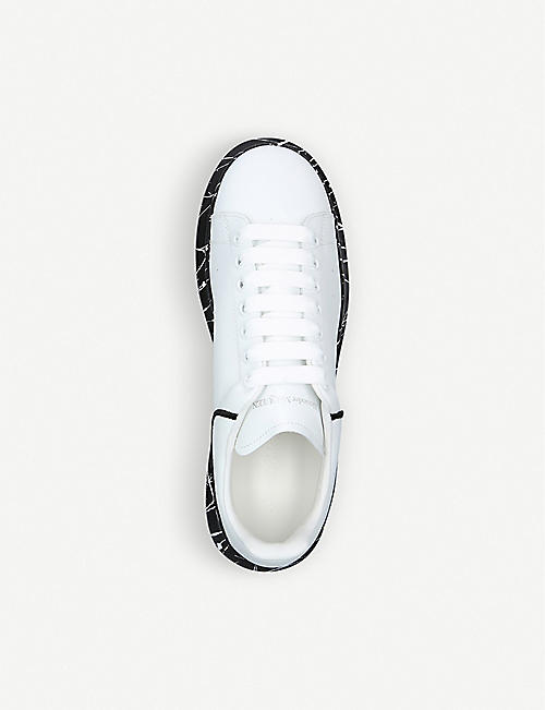 ALEXANDER MCQUEEN Show graffiti spray-print leather trainers