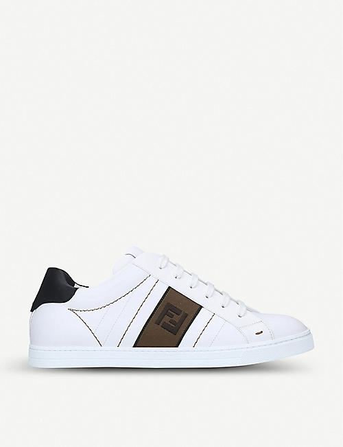 FENDI: Logo-print leather trainers