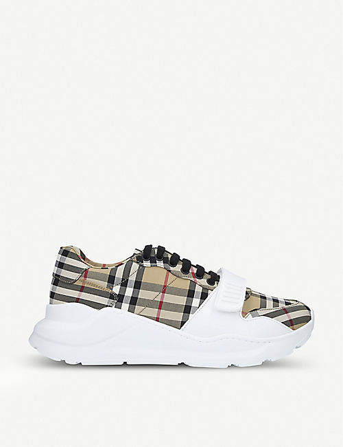 BURBERRY: Regis Vintage Check canvas trainers