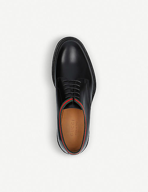 GUCCI Beyond Web-striped leather Derby shoes