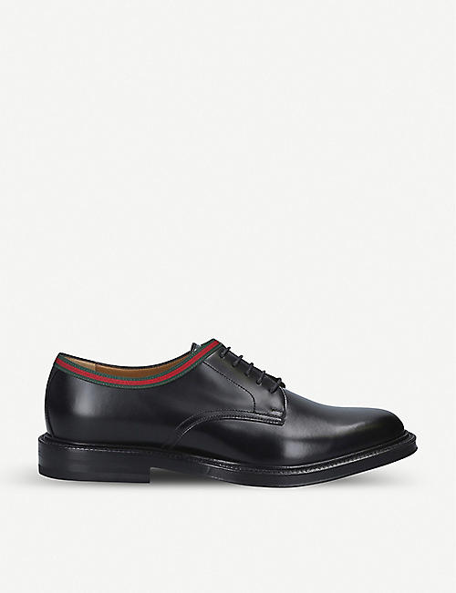 GUCCI: Beyond Web-striped leather Derby shoes