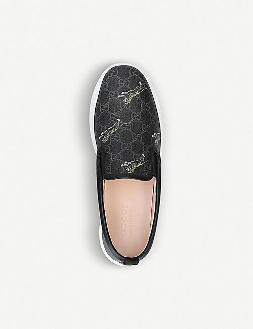 17256ec49 GUCCI Dublin tiger-print GG canvas and leather skate shoes