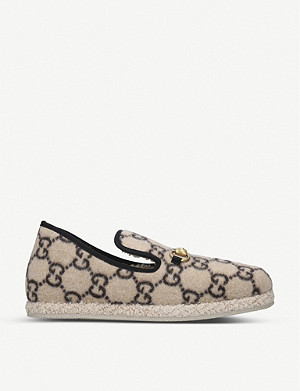 GUCCI Logo-print wool loafers