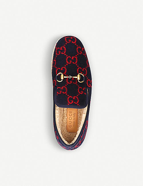 GUCCI Fria GG-woven wool slippers