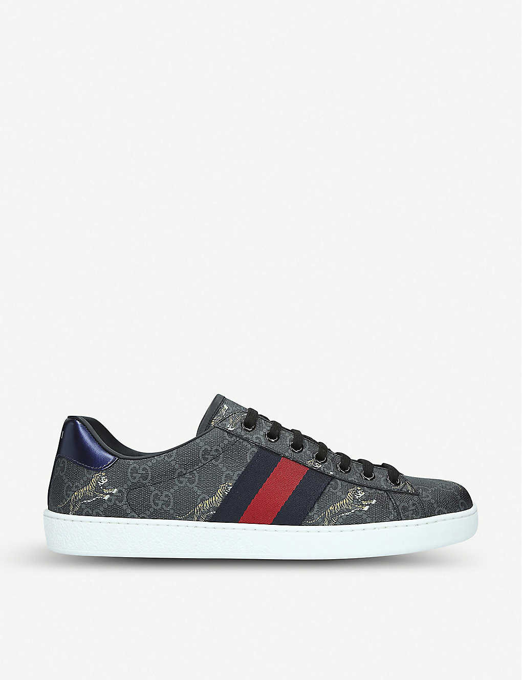 GUCCI: New Ace GG Tiger canvas trainers