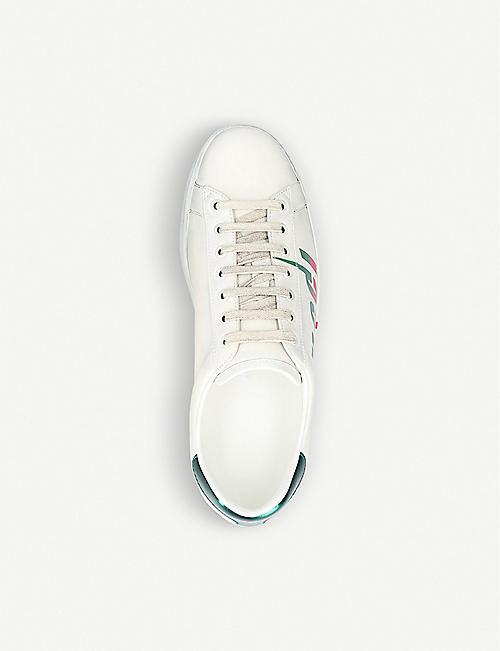 GUCCI New Ace logo-print leather trainers
