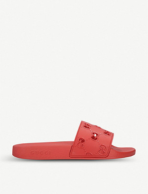 GUCCI Pursuit GG cutout rubber sliders