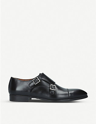 SANTONI: Simon leather double monk shoes