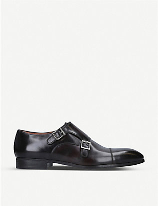 SANTONI: Simon double-buckle leather Derby shoes