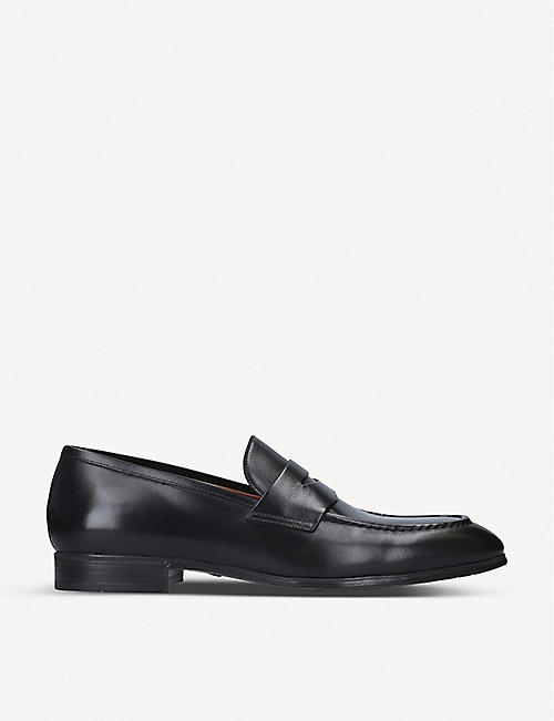 SANTONI: Simon leather penny loafer
