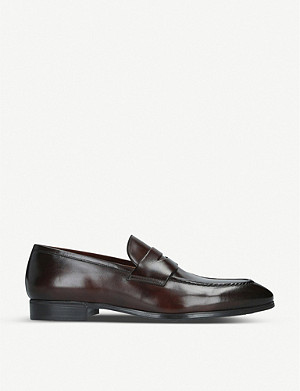SANTONI Simon leather penny loafers