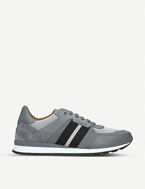 BALLY Aseo leather and mesh low-top trainers