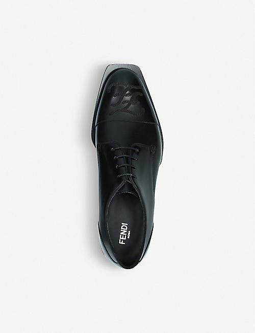 FENDI Karl logo-embroidered leather Derby shoes