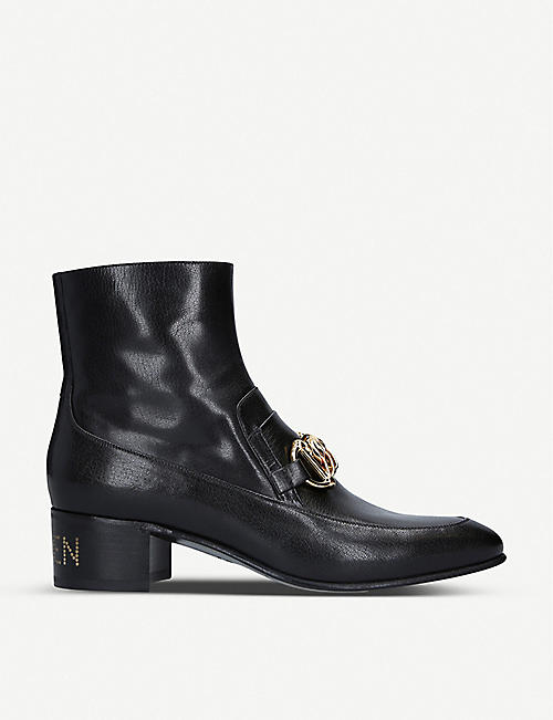 GUCCI Ebal horsebit chain leather heeled boots