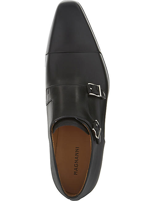 MAGNANNI Double monk leather shoes