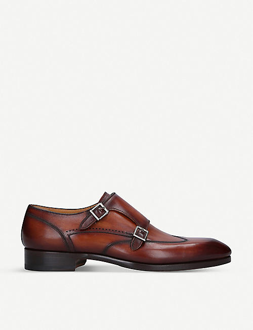 MAGNANNI: Burnished leather monk strap shoes