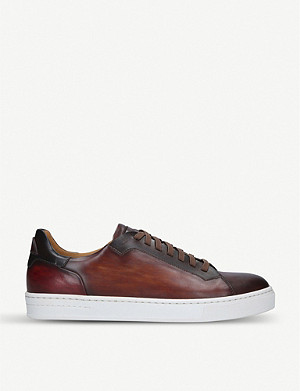 MAGNANNI Burnished leather tennis trainers