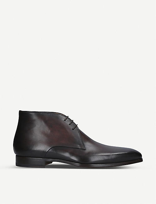 MAGNANNI: Derby leather lace up boots