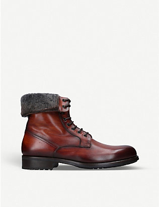 MAGNANNI: Rommel faux fur-trim leather combat boots