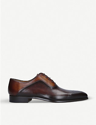 MAGNANNI: Punched leather Oxford shoes