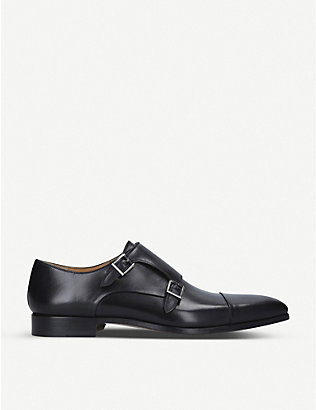 MAGNANNI: Double monk strap leather shoes