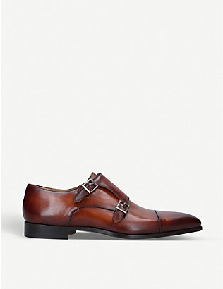 MAGNANNI: Burnished leather double monk-strap shoes
