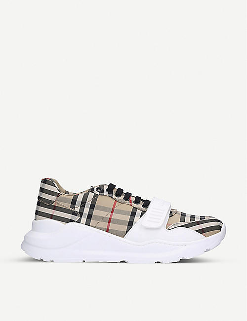 BURBERRY Regis canvas and leather low-top trainers