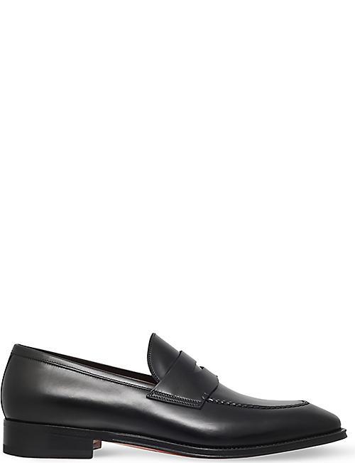 SANTONI Duke leather penny loafers b78181ed0b1