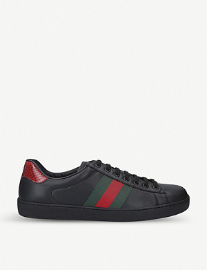 GUCCI New Ace Web leather low-top trainers