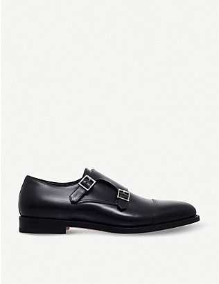 SANTONI: Wilson leather monk shoes