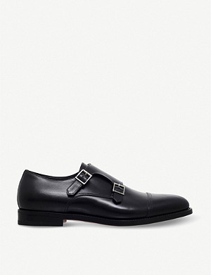 SANTONI Wilson leather monk shoes