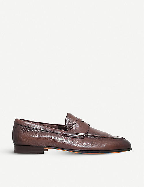 SANTONI: Carlos deer leather penny loafer