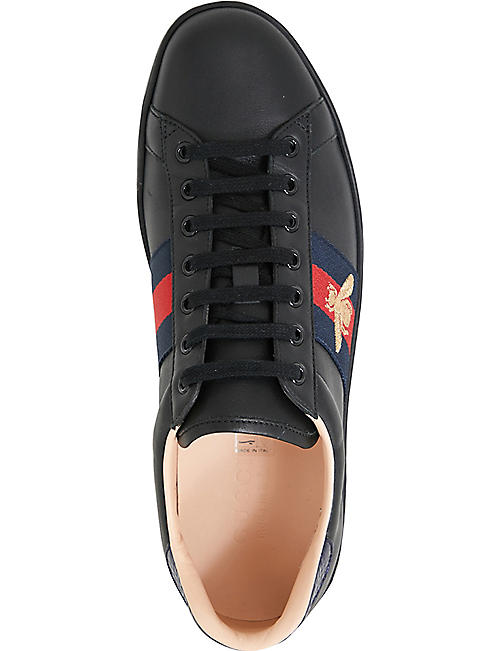 87b3b5dfd GUCCI Mens Ace embroidered bee leather low-top trainers