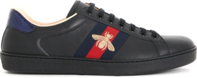 GUCCI Mens Ace embroidered bee leather low-top trainers