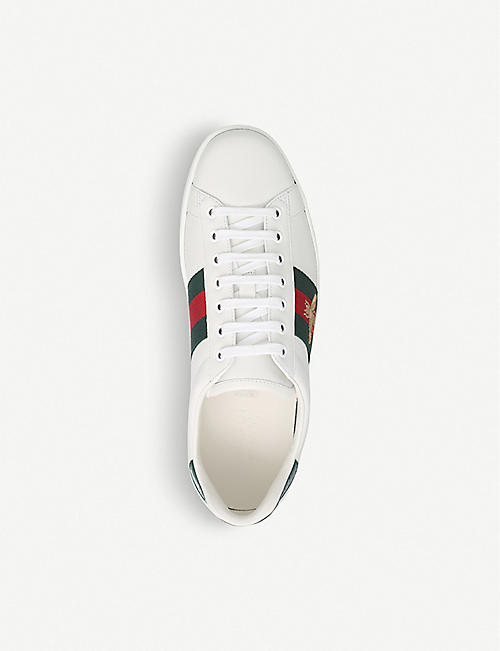 GUCCI Mens New Ace Bee leather trainers
