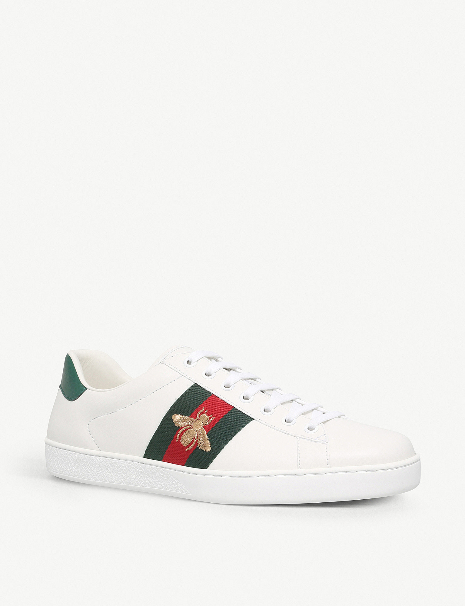 f2881ea9507 ... Mens New Ace bee-embroidered trainers - White zoom ...