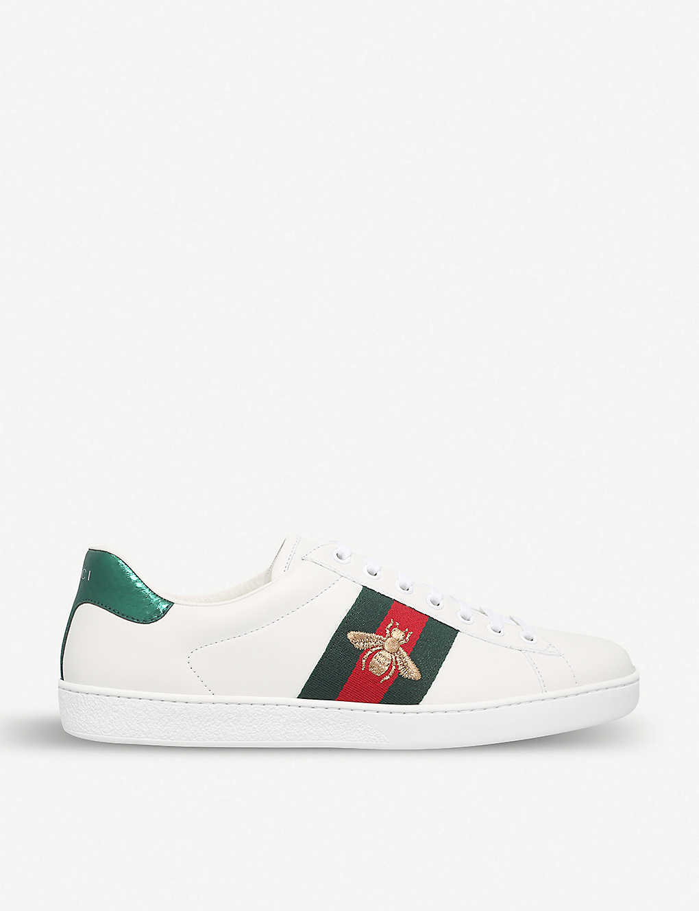 6382d2b93 GUCCI - New Ace bee-embroidered leather trainers | Selfridges.com