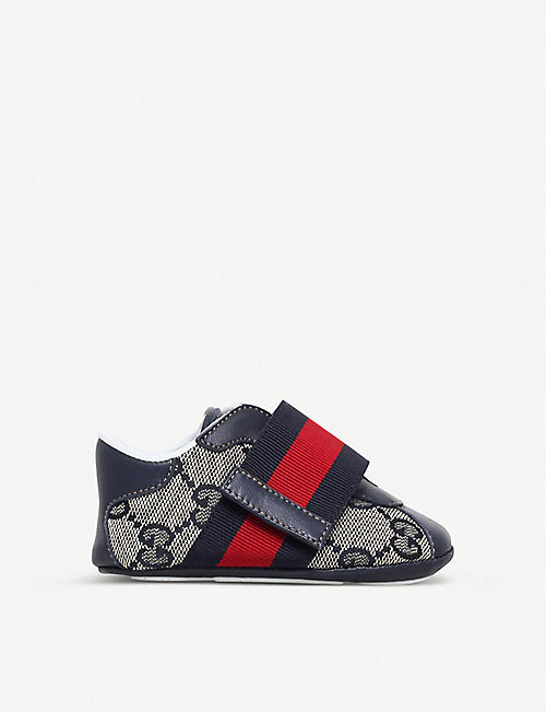 GUCCI: Icon canvas and leather trainers 0-12 months