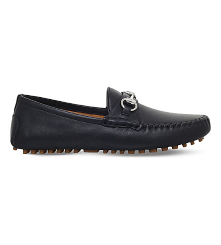 701472f6d25 GUCCI Road leather loafers 4-8 years (Black