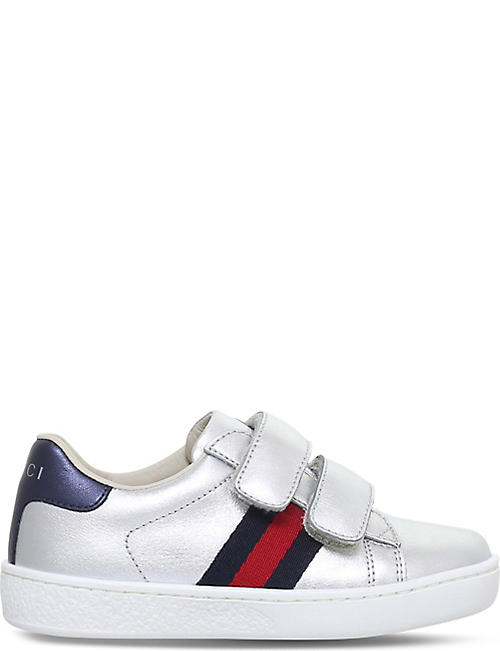 GUCCI: New Ace VL metallic-leather trainers 1-5 years