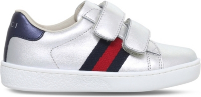 GUCCI New Ace VL metallic-leather trainers 1-5 years